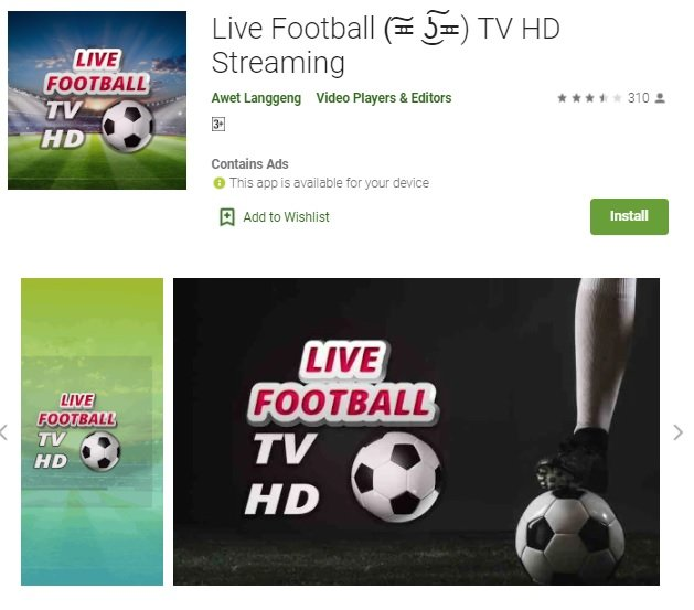 aplikasi nonton bola live streaming via Live Footbal