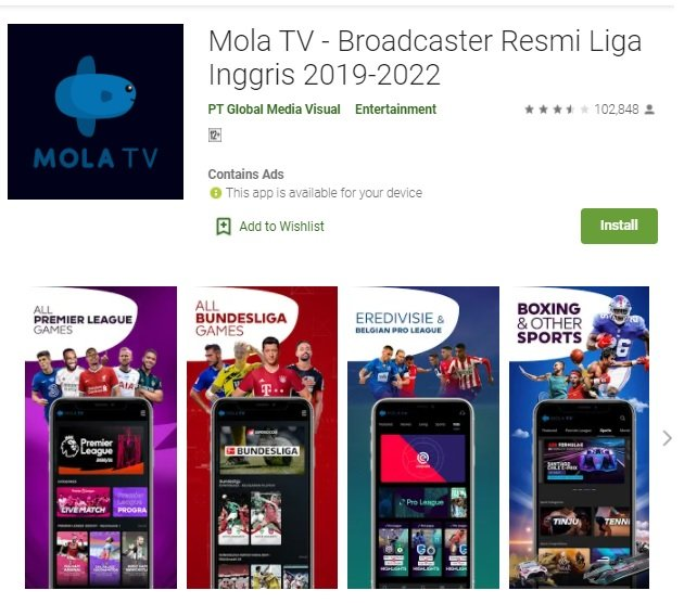 aplikasi live streaming bola Mola TV
