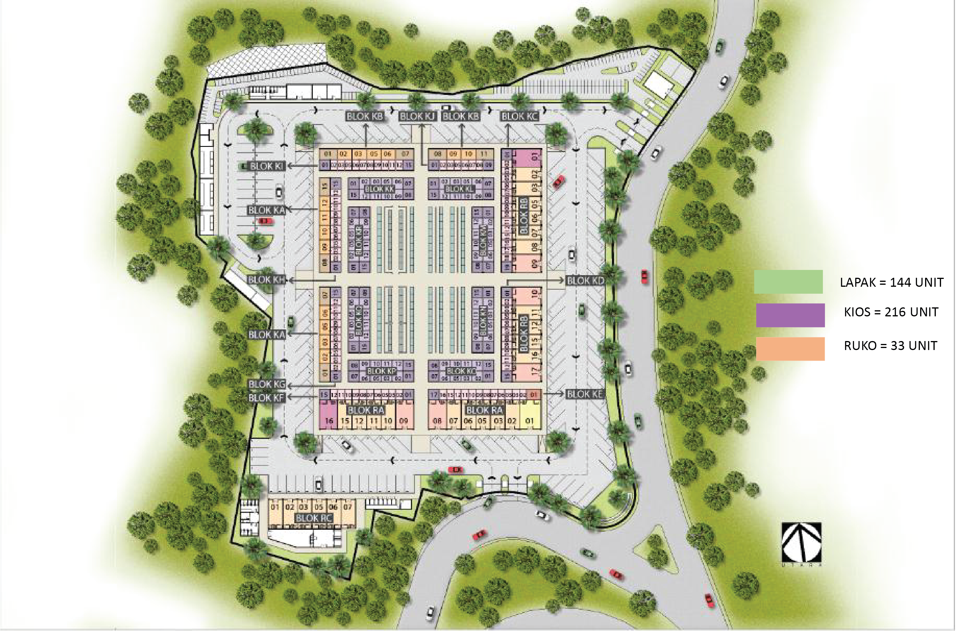 Site plan pasar modern graha raya 99 co indonesia