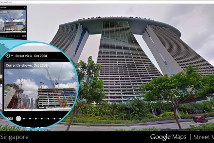 google street view time travel marina bay sands