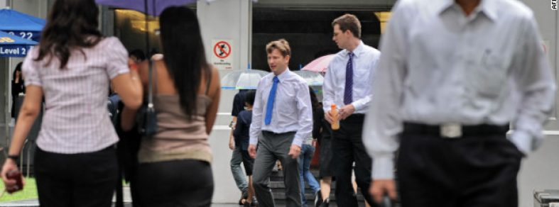 Expats in Singapore walking around