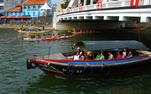 modern bumboats in singapore river