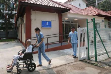 Elderly man on wheelchair