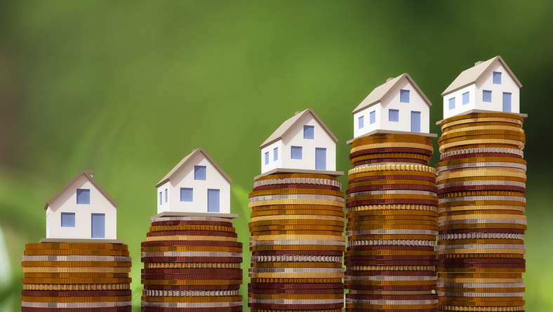 Houses atop increasing coins