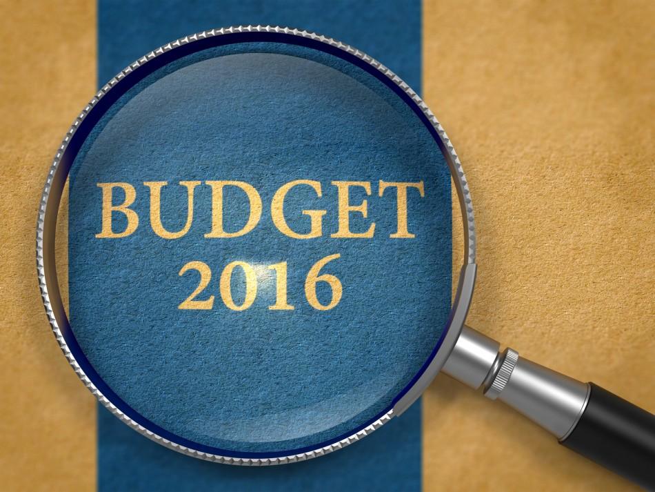 Budget 2016 Concept through Magnifier.