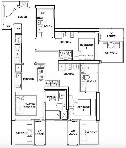 Floorplan of GEM Residences trio-key unit