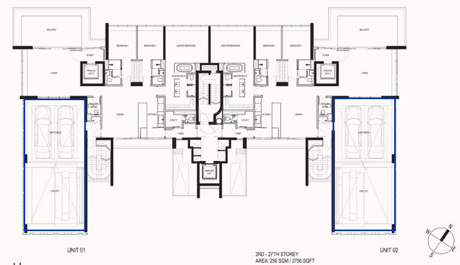 Each unit in Reignwood Hamilton Scotts has an ensuite sky garage and car lift - indicated in the blue boxes
