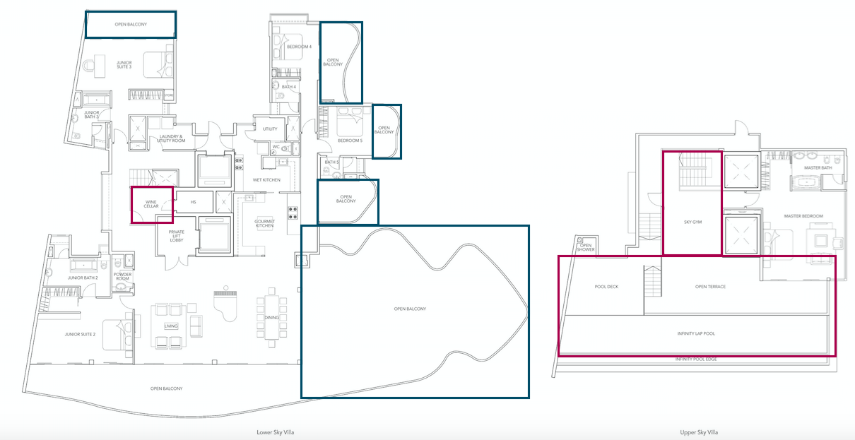 The many balconies of the penthouse unit in the Turquoise highlighted in blue boxes as well as many other amenities such as a wine cellar, sky gym and pool (highlighted in red)