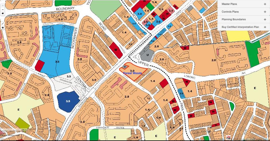 URA Masterplan of the area around the developer new launch: Forest Woods