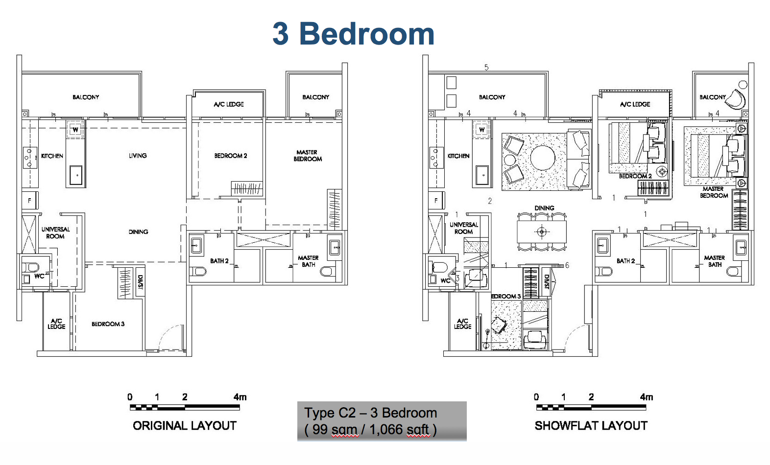 A typical 3BR unit in The Alps Residences