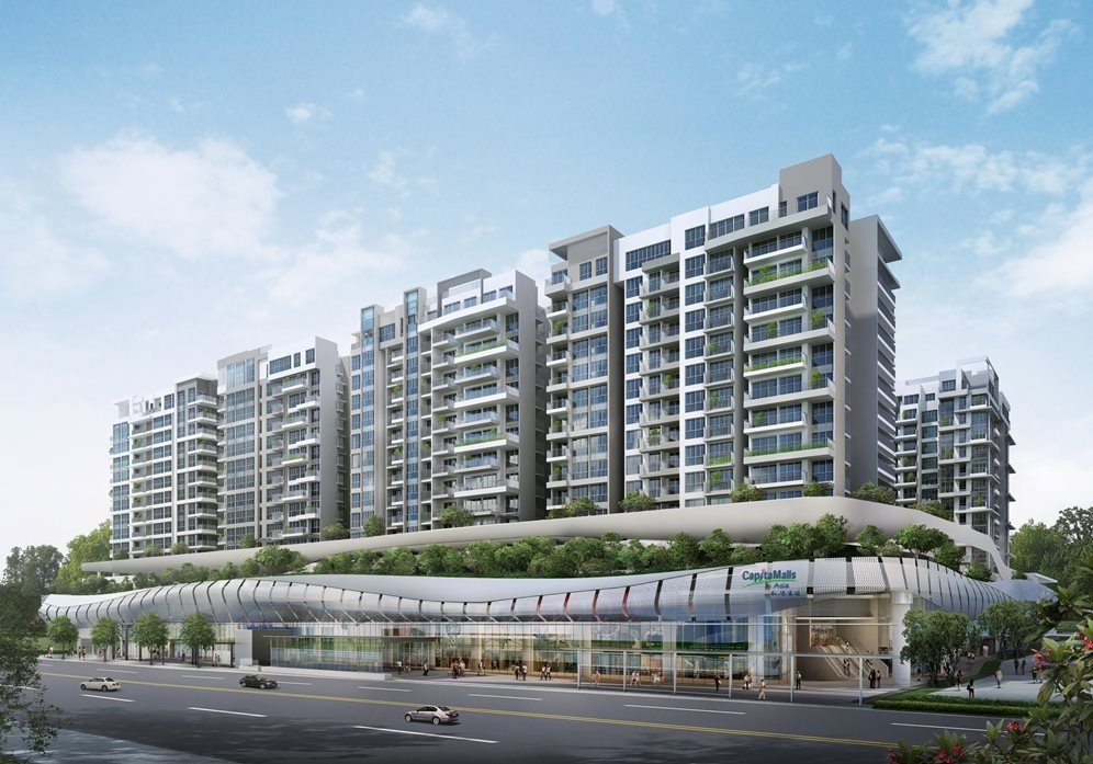 Bedok Mall, with Bedok Residences located just above it, is just next to Bedok MRT