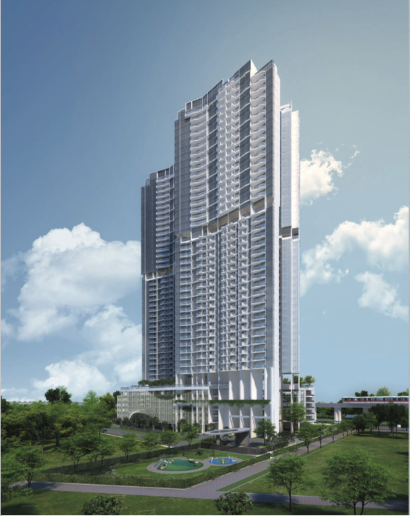 Queens Peak comprises of 2 towers with 44 storeys each, a total of 736 units right next to the MRT station