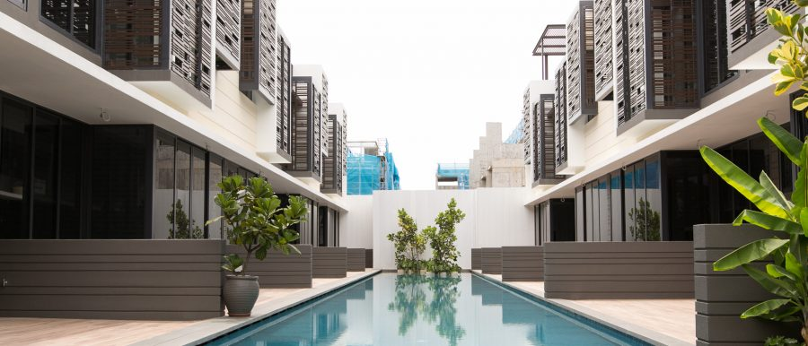 Cluster homes such as Alana @ Sunrise Terrace have pool-facing units