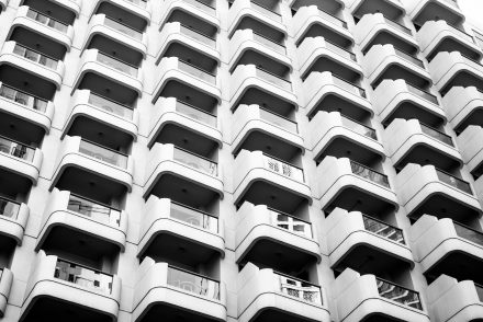 Picture of apartments stacked on top of one another