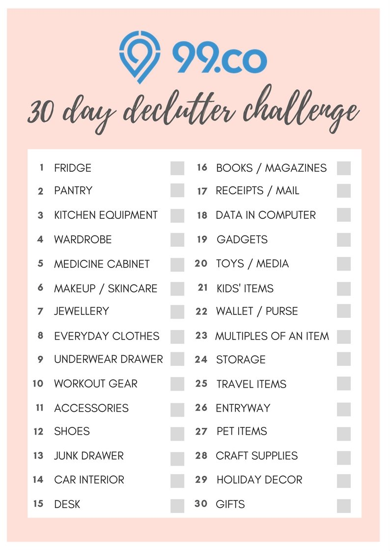 Take 99 co's 30-day declutter challenge - 99 co