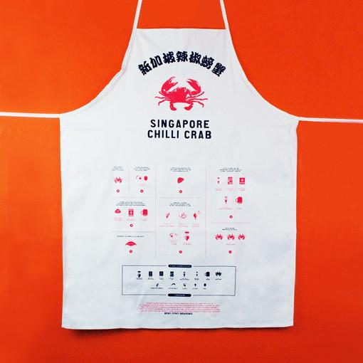 Apron printed with 'Singapore Chilli Crab'