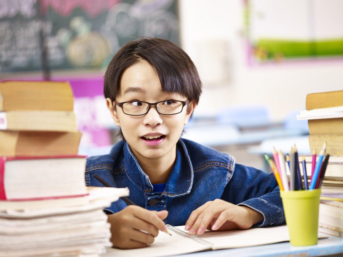 primary school kid in classroom