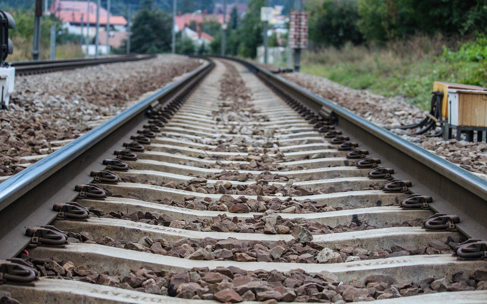 train tracks on the ground