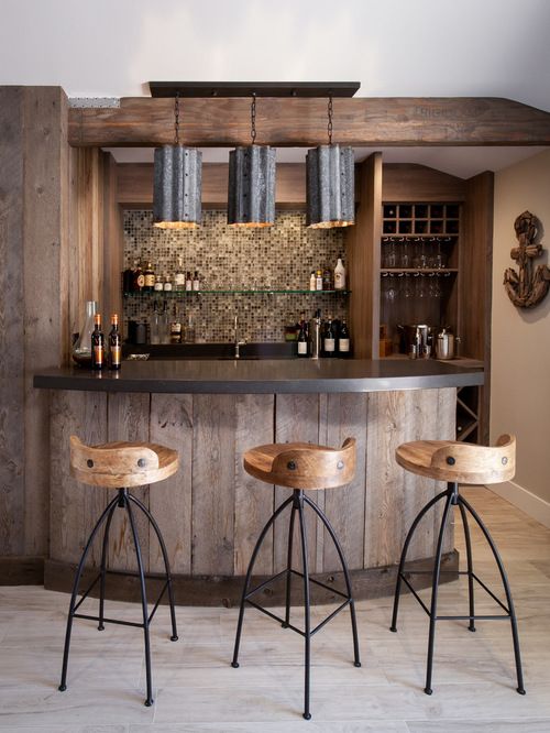 home bar and stools