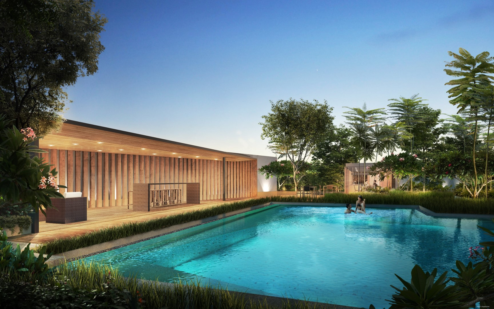 Artist's impression of the azure blue swimming pool at Le Quest.