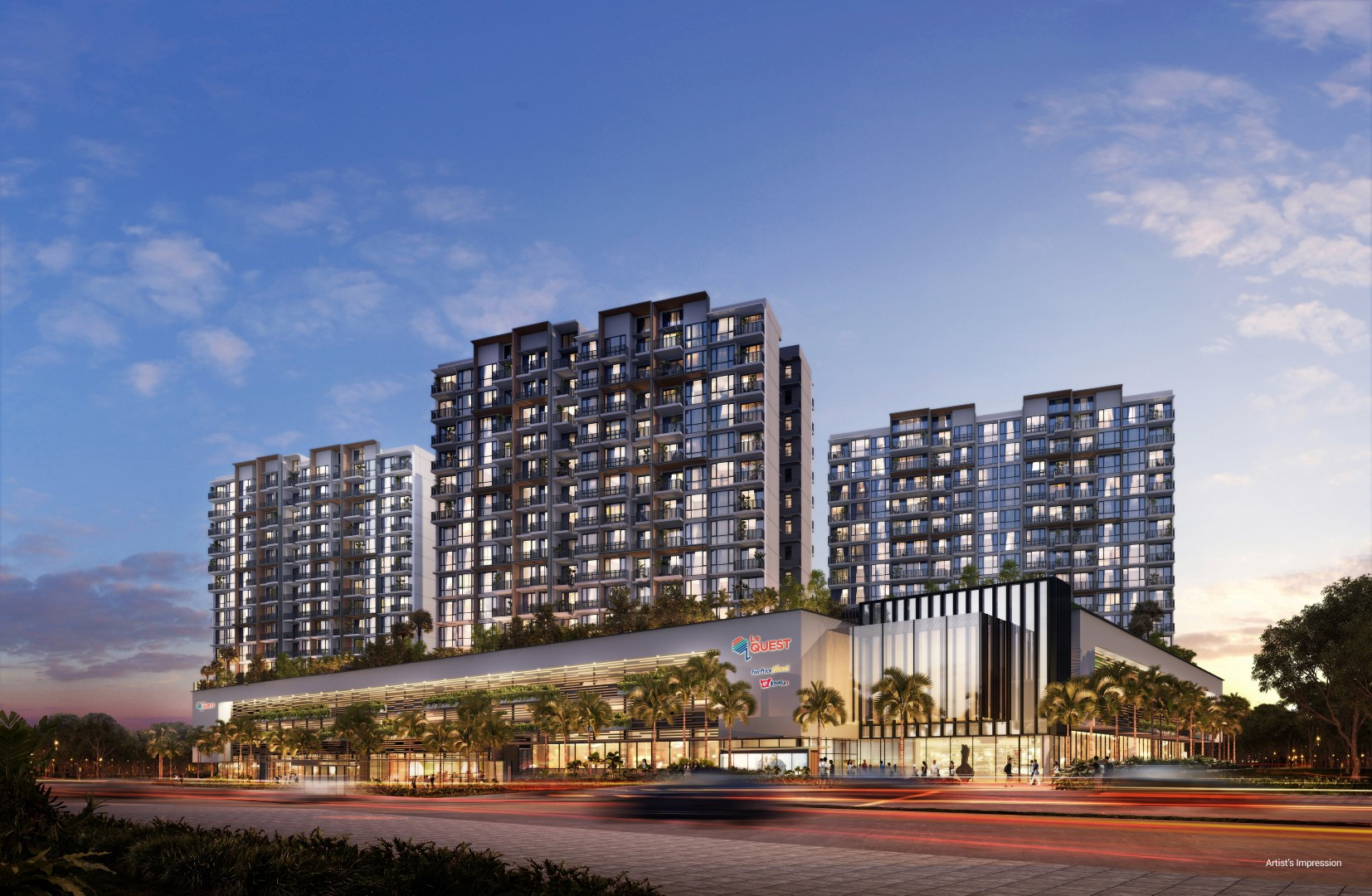 Artist's impression of Le Quest, a new mixed development with both commercial and residential units