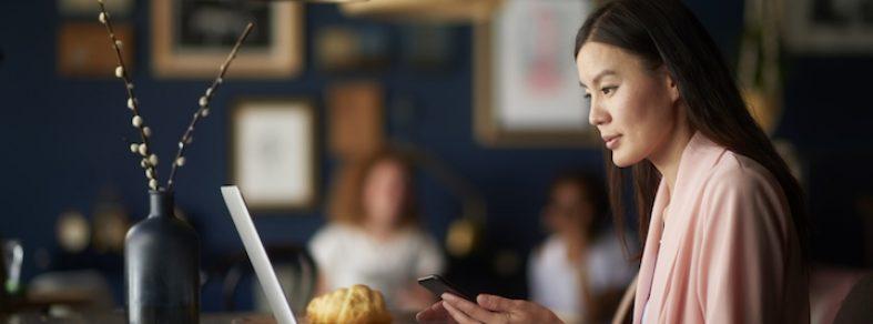 woman staring at laptop