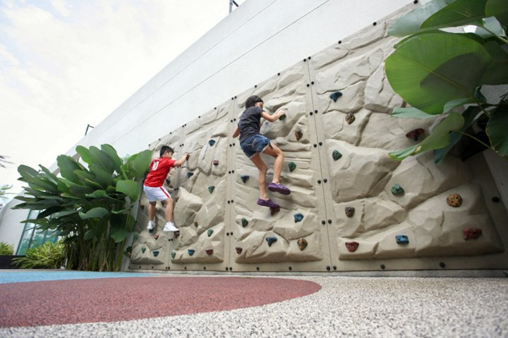 Condo facilities rock climbing wall