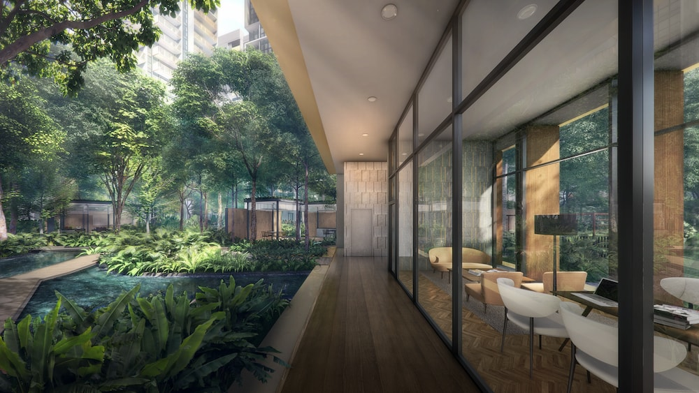 coworking space at clubhouse in riverfront residences