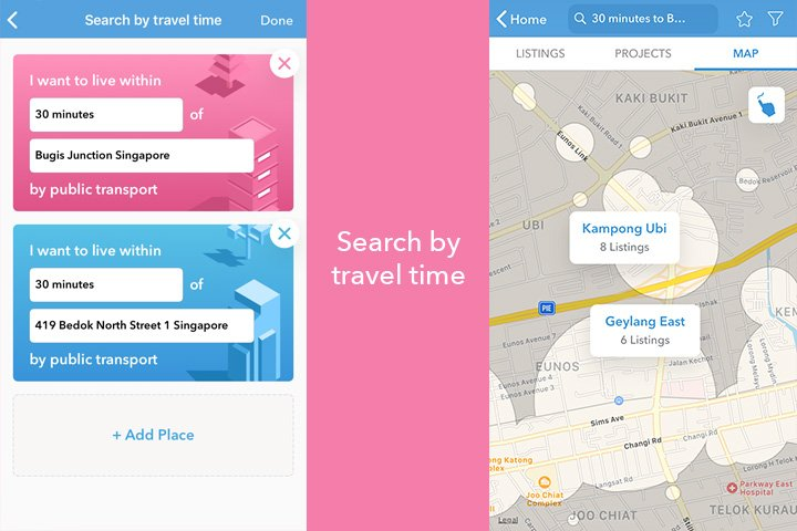 99.co Property 'Search by Travel Time' feature