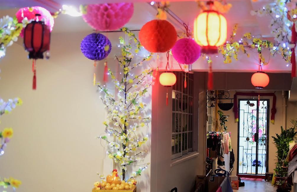 HDB flats koi pond CNY decor corridor