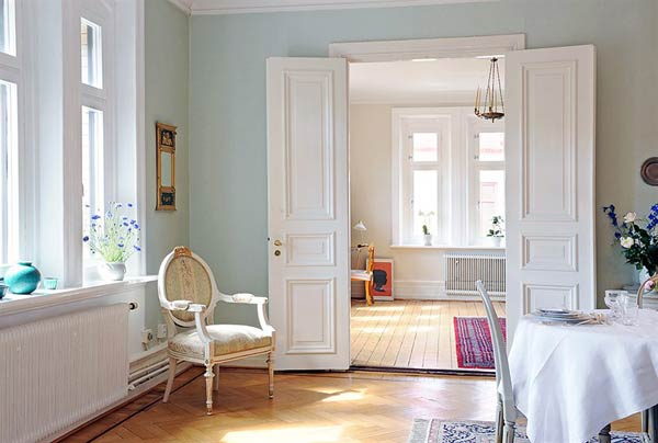 Room with painted white doors