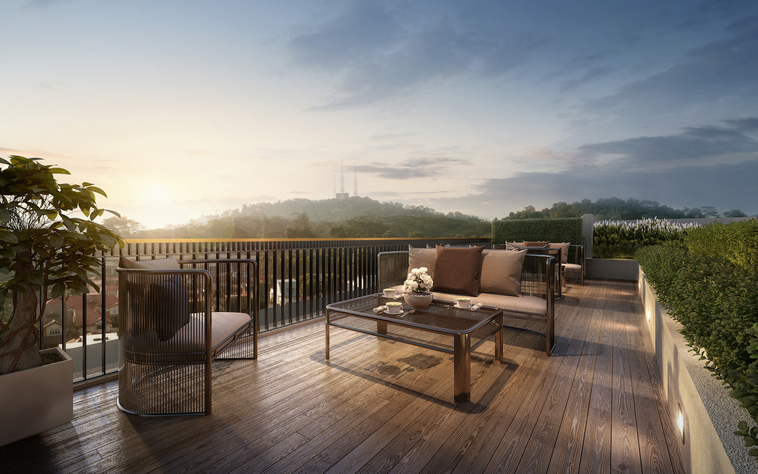 Enjoy the greenery view at Mayfair Gardens roof terrace