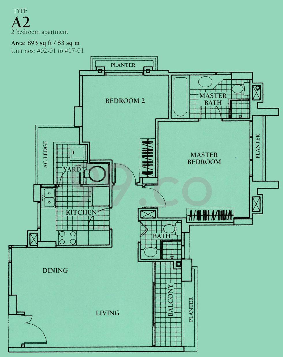 Aquarius by the Park condo floor plan