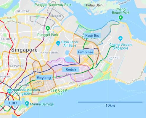 HDB town east Singapore map