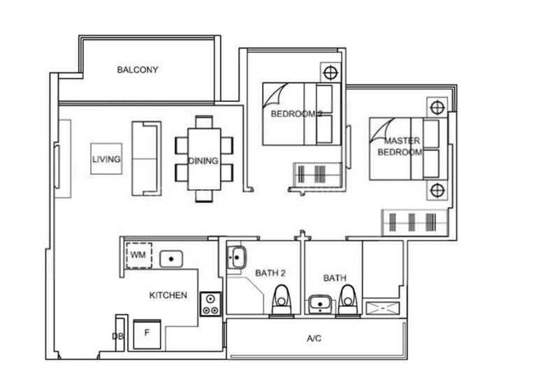 La Fiesta floor plan two-bedroom