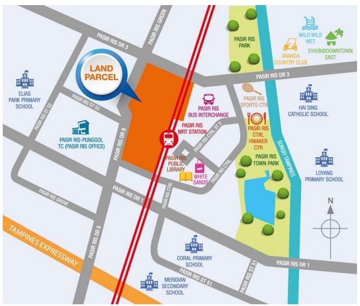 Pasir Ris upside Land Parcel map