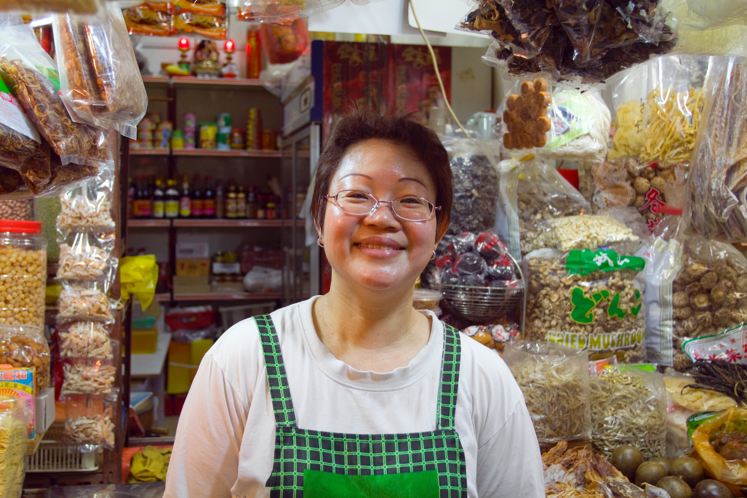 shopkeeper at serangoon gardens market