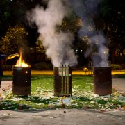 Burning money in bins for hungry ghost festival