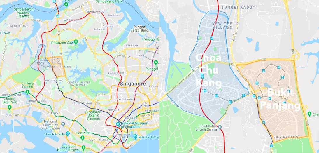 Choa Chu Kang Bukit Panjang Town Map Singapore