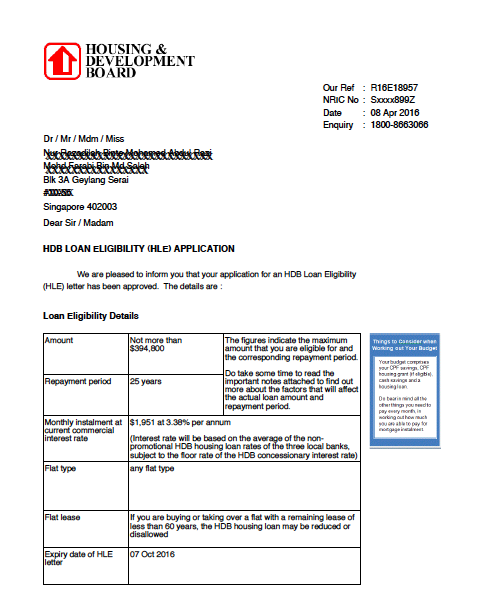HDB HLE home loan eligibility letter.