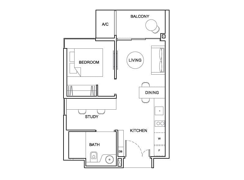 condo size one-bedroom study