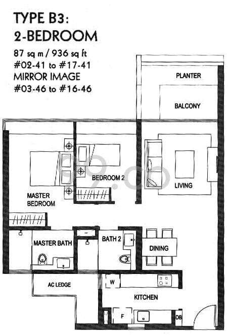 condo size two-bedroom