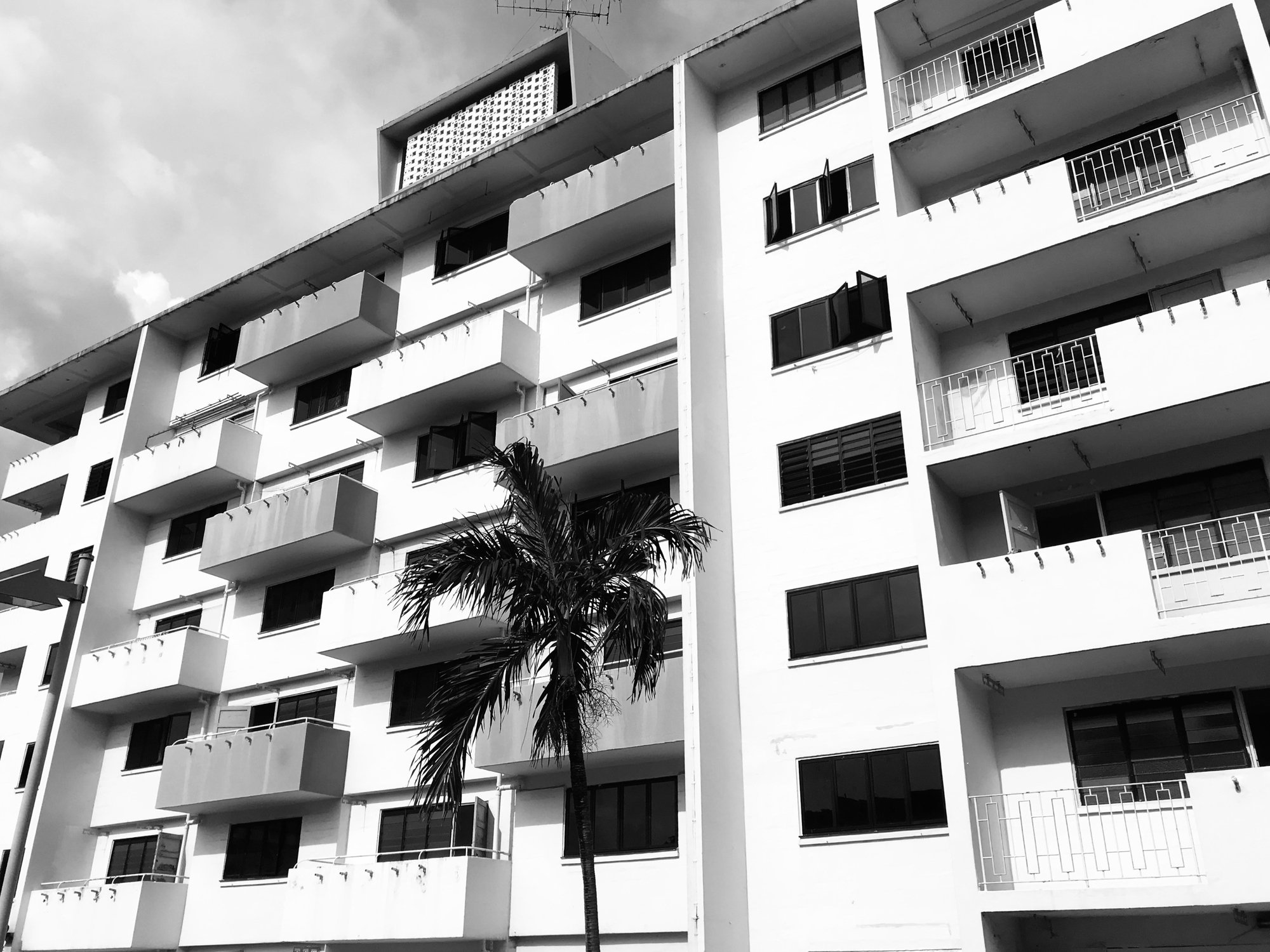 Black and white photo of old HDB flats