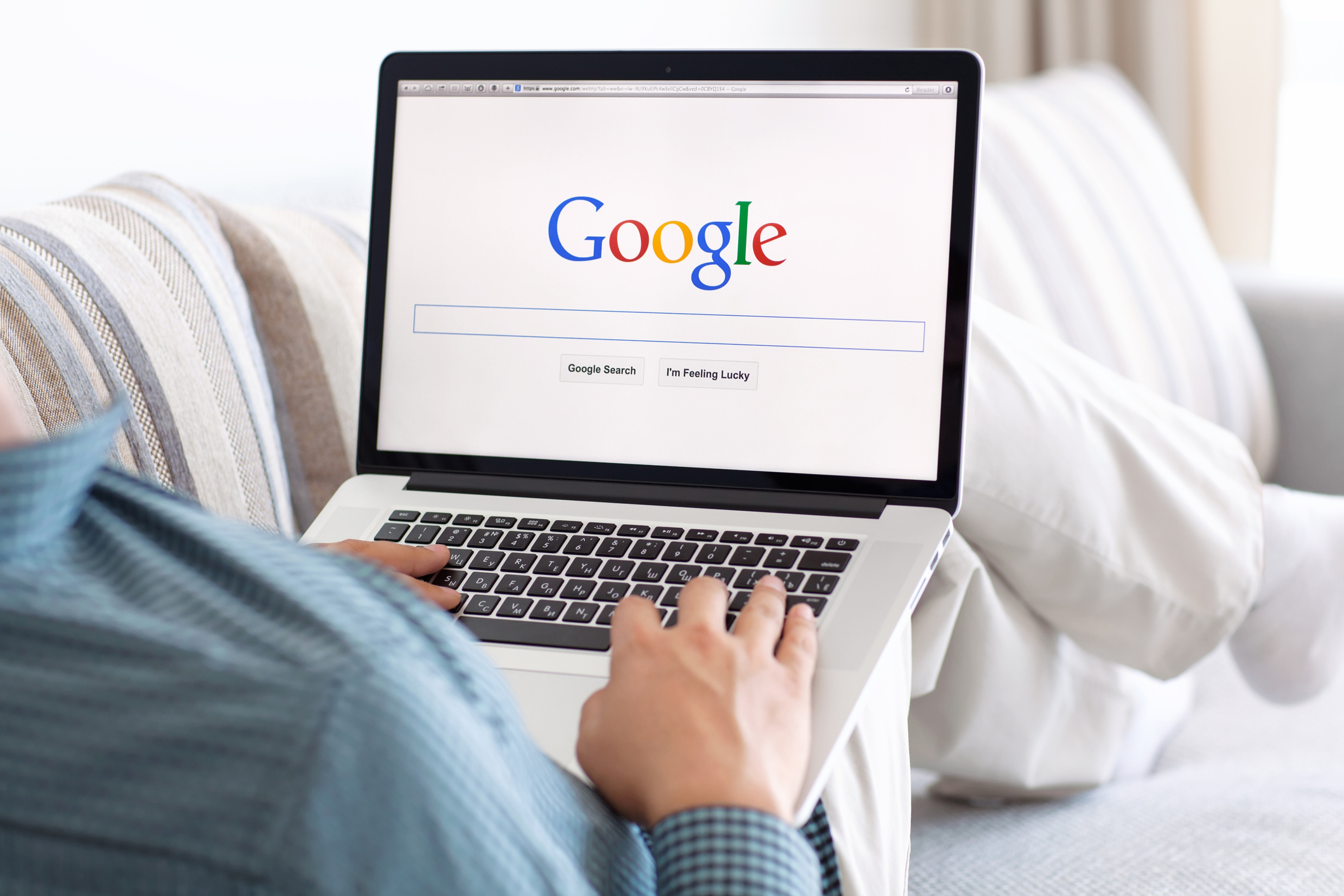A person on the Google home page