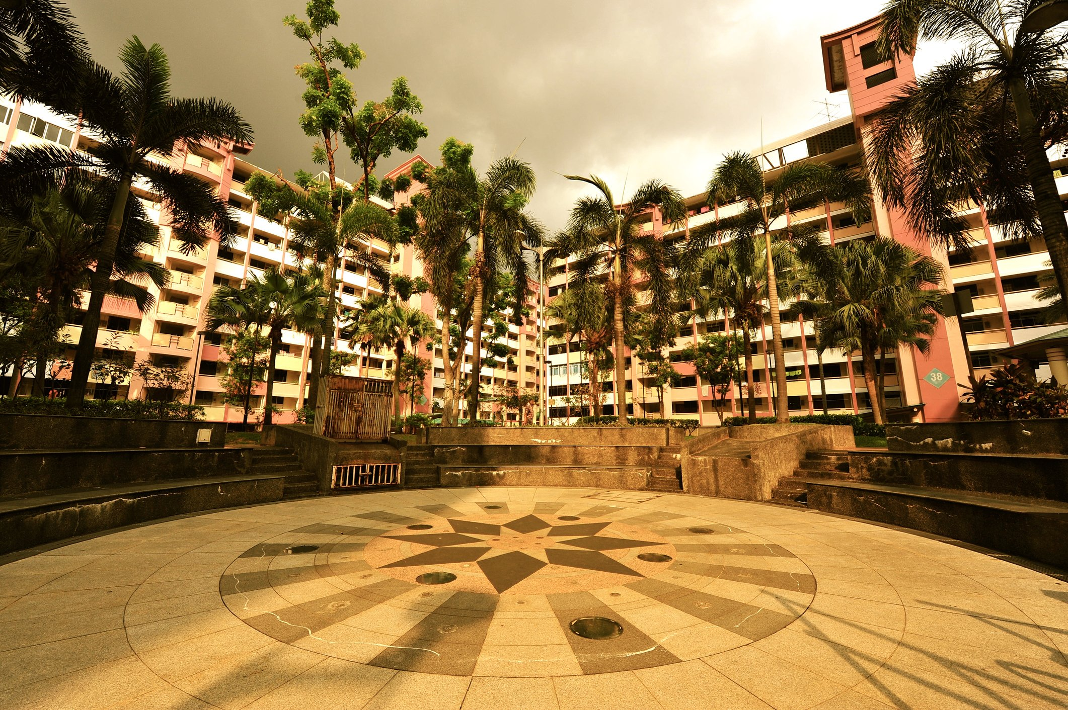 Plaza area between Singapore flats