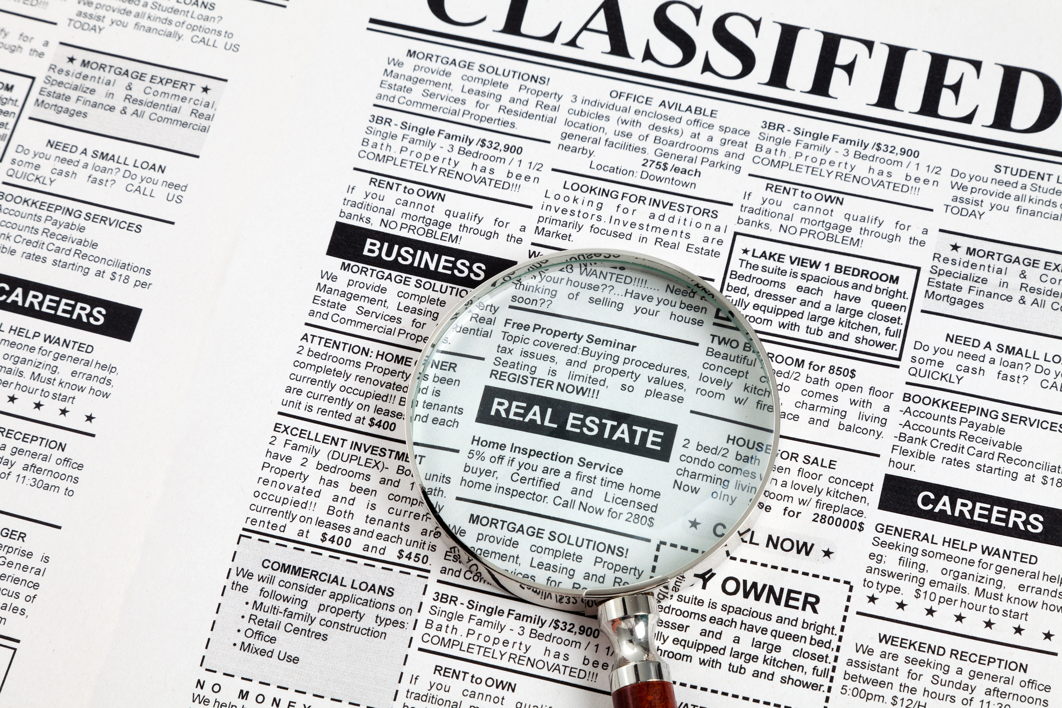 Classified ads in the newspaper