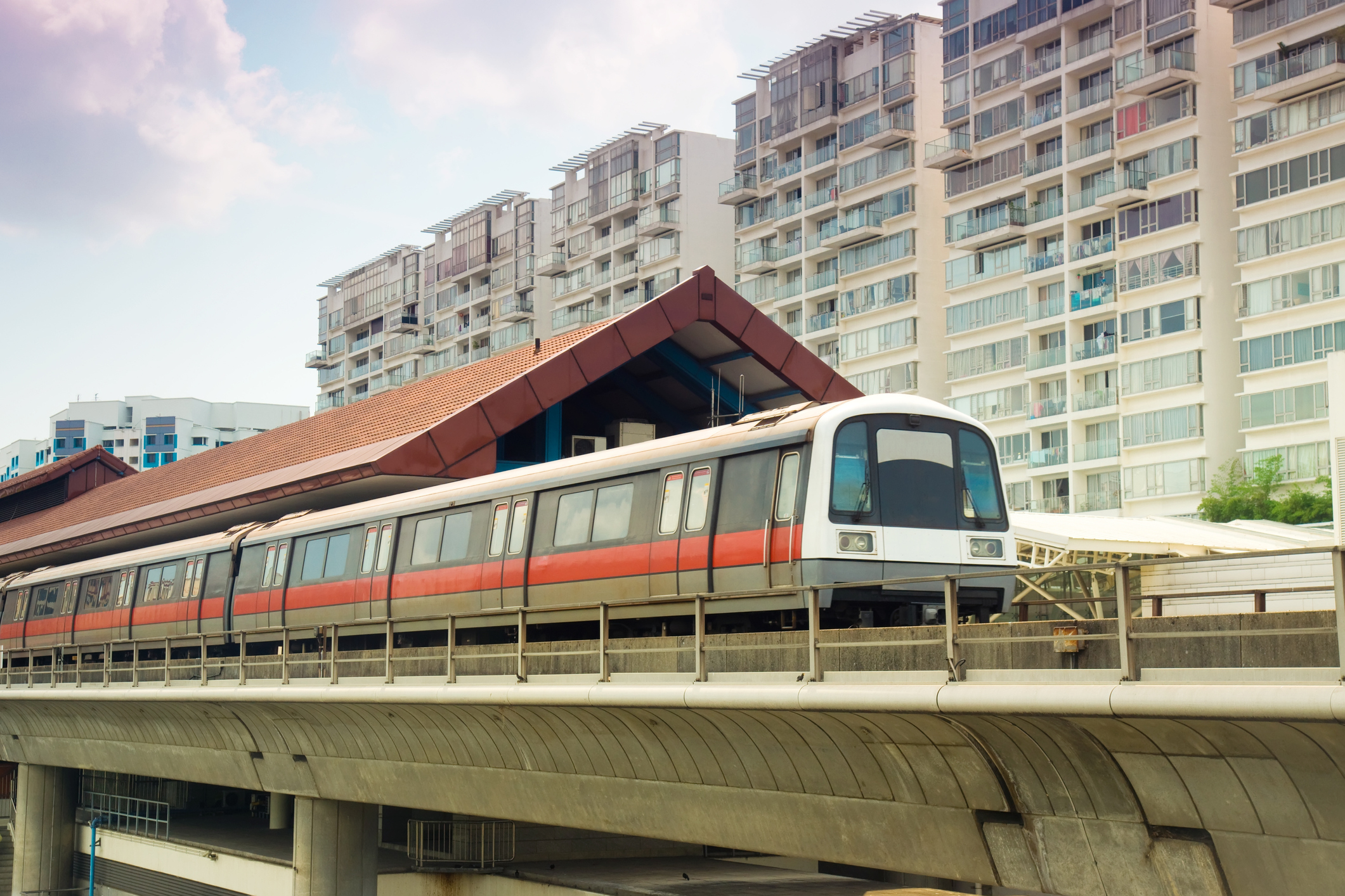 An MRT station in front of heartland area condos