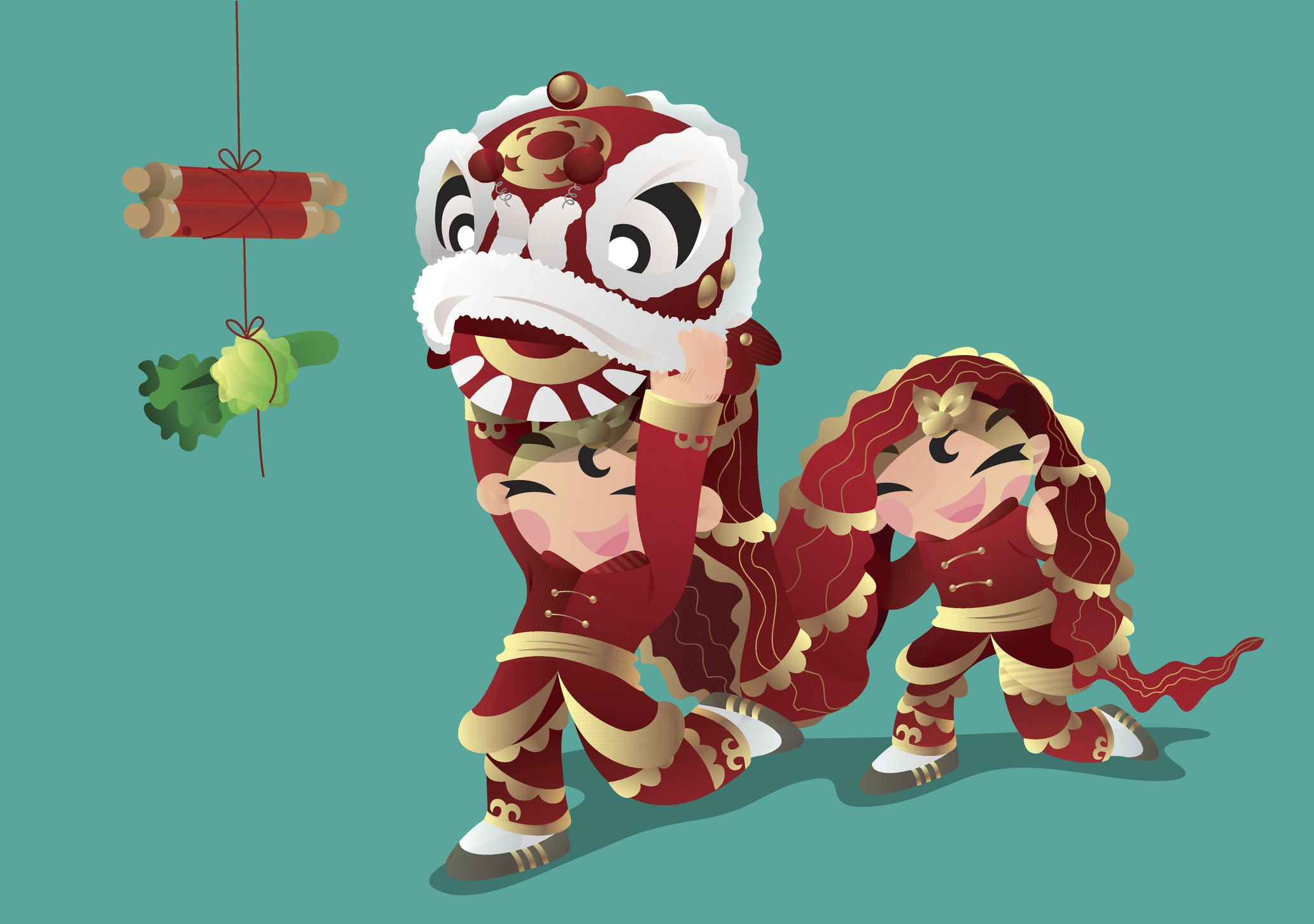 Line art of two lion dancers in front of dangling cabbage