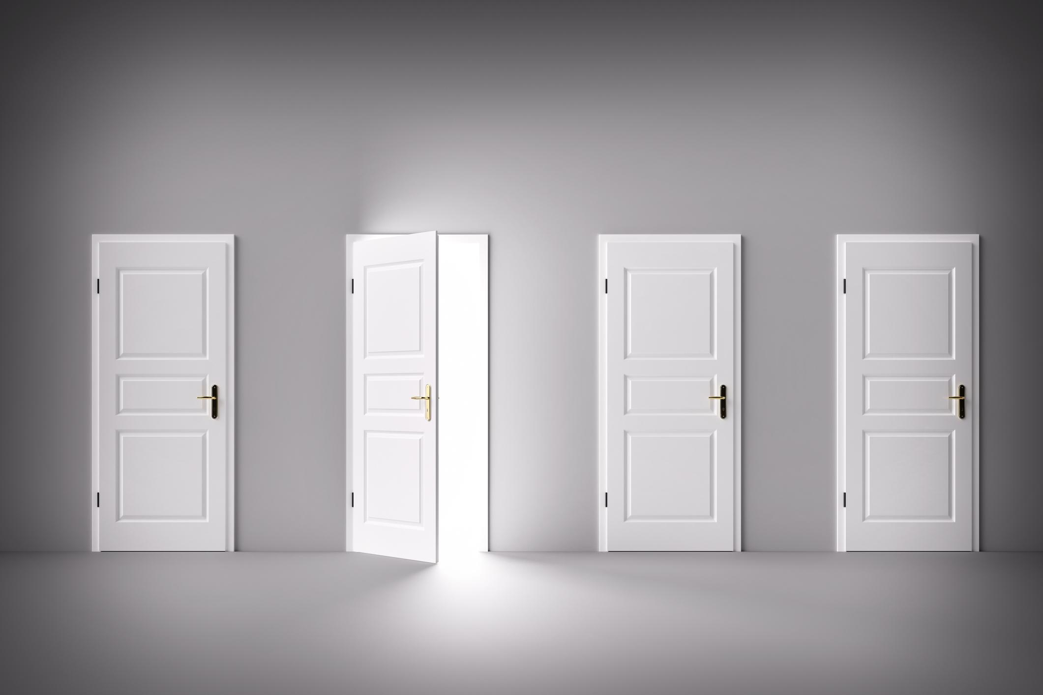 One door open in a series of closed doors
