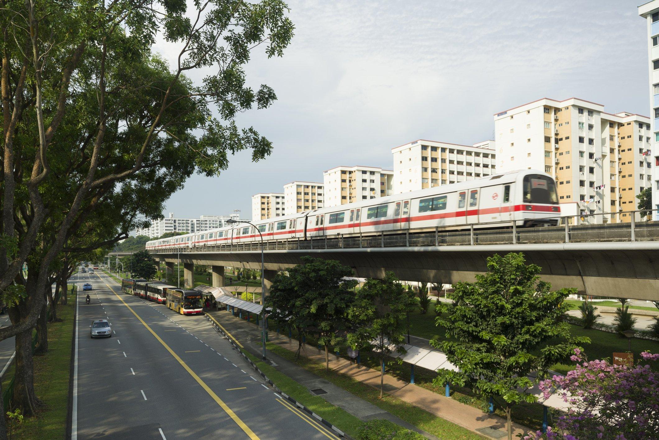 HDB flats and train